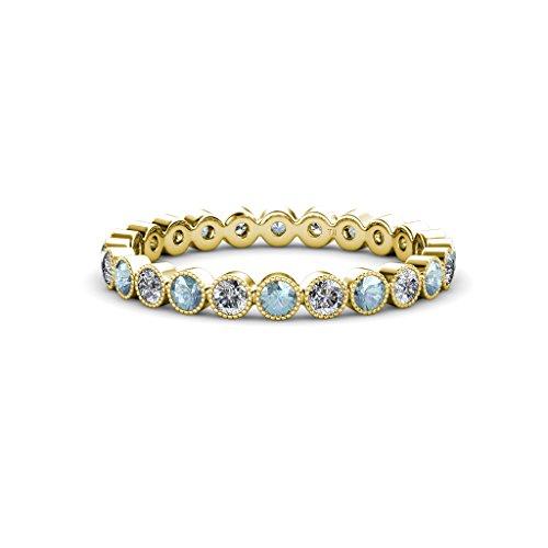 Aquamarine & Diamond Bezel Set With Milgrain Eternity Band 0.86 ct tw to 0.96 ct tw 14K Yellow Gold.size 6.0 Milgrain Diamond Eternity Band