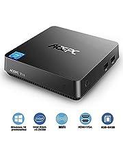 "ACEPC T11 Micro Mini PC Intel Cherry Trail senza ventola Windows 10 Pro(64 bit) Desktop Computer[4GB DDR/64GB EMMC/supporto 2,5""mSATA SSD/Dual Band WiFi/BT 4.2/4K]HDMI + VGA/1000Mbps LAN"