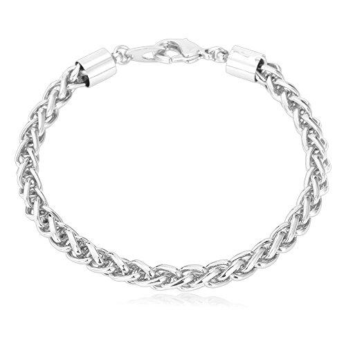(U7 Men 5mm Wide Platinum Plated Twisted Spiga Link Chain Bracelet - 8.3 Inch)