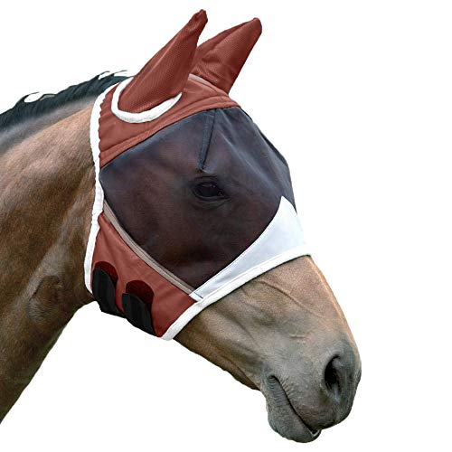 Shires Fine Mesh Fly Mask with Ears Chocolate Full