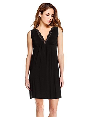 Coolmee Women Deep V-Neck Lace Trim Sleeveless Nightgown Sleepwear Empire Babydoll Lingerie Night Dress Black (Empire Nightgown)