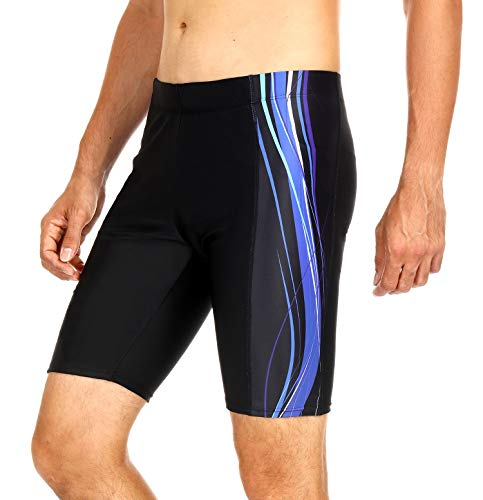 (ATTRACO Mens Swim Jammers Athletic Durable Training Swimsuit Shorts Black 36)