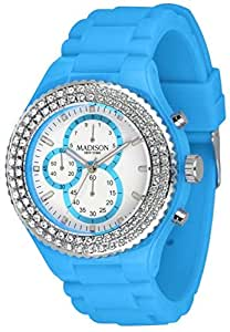 Madison New York Ladies White Chronograph Blue Rubber Band Watch [U4398-06]
