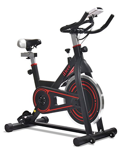 iDeer Life Exercise Bike Indoor Workout Cycling Bike, Height Adjustable Sport Stationary Bicycle with Heart Pulse Sensors & LCD Monitor, Max User Weight:280lbs,for Home Gym Cardio Exercise (Black/Red 09022)