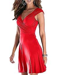 Zojuyozio Womens Summer Elegant Deep V Neck Fit and Flare Bodycon Mini Dress