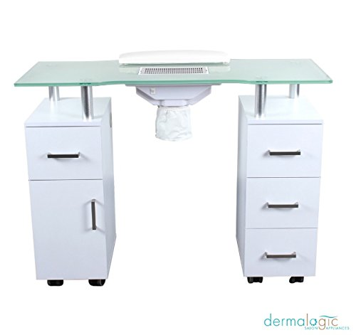 Manicure Table GLASS GLOW WHITE Salon Nail Table Salon Furniture & Equipment -