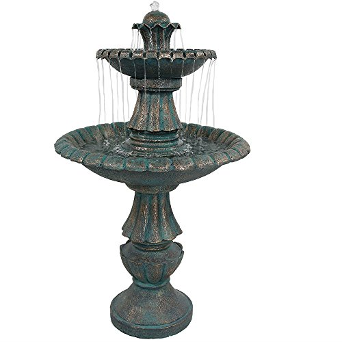 Sunnydaze Nouveau Tiered Outdoor Garden Water Fountain, 41 Inch - Fountain Steps Copper Garden