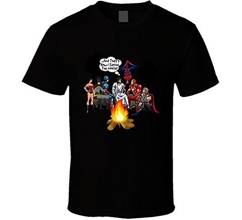 Jesus And Superheroes Campfire T Shirt How I Saved The World Christian Gift Tee L (Superhero Shirts Womens)