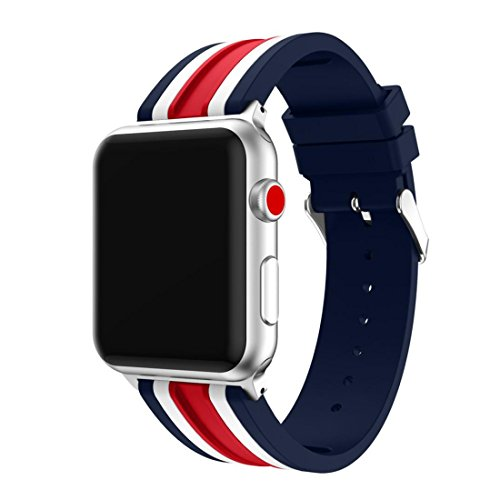 Smart Parts Pants (Apple Watch Bands, HANYI Silica Gel Buckle Wrist Watch Band Strap Belt for Apple Watch Series 3/ 2/ 1 (38 mm, Red Tricolor))