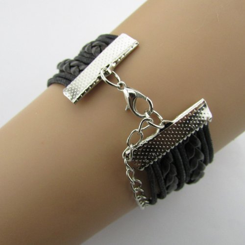 Bestpriceam Handmade Infinity Weave Love Birds Anchors Charms Leather Bracelet