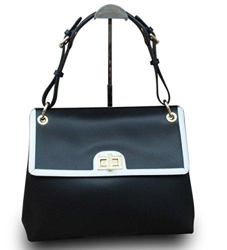 Fabriqué en Italie Designer épaule Sac Hobo Femme Cube en cuir véritable it Bag Noir/Blanc