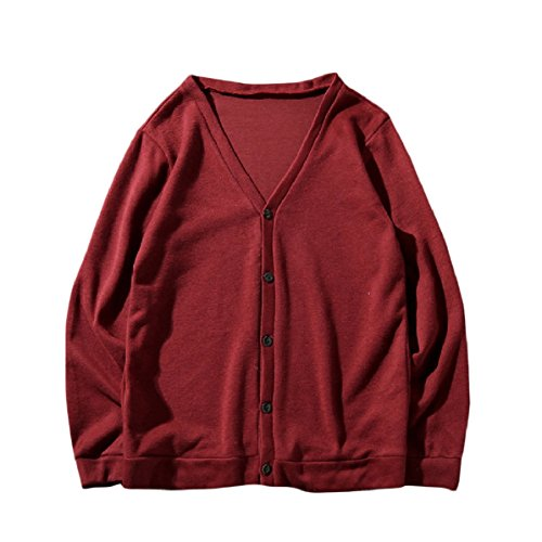 Red Wine Size Buttoned Jacket Plus Cardigan Coat Autumn Sweater Thin MogogoMen vwq4ZZ