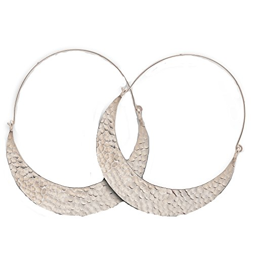 Curvy Dangle Hammered Karen Hill Tribe Design Earring Pure Silver ()