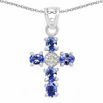 Bijoux Schmidt-Collier avec Diamond / Tanzanite - Pendentifs - argent 925 rhodié 0,87 carats