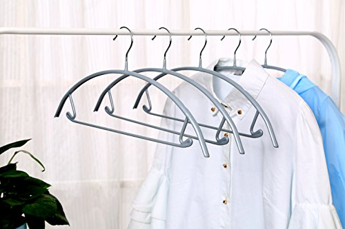(VANORIG Deluxe Hanger Clothes Hanger Durable High Manganese Steel Hangers PVC Resin Coating Clothing Hanger,Pack of 5 (Grey))