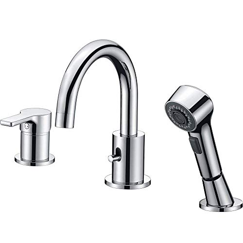 Best Deals! Bathroom Faucet 3 Hole Chrome Crea Widespread Bathtub Vanity Lavatory Faucet with Pull O...