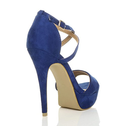 Over High Suede Sandals Blue Cobalt Size Women Ajvani Heel Cross 5Iv7qv