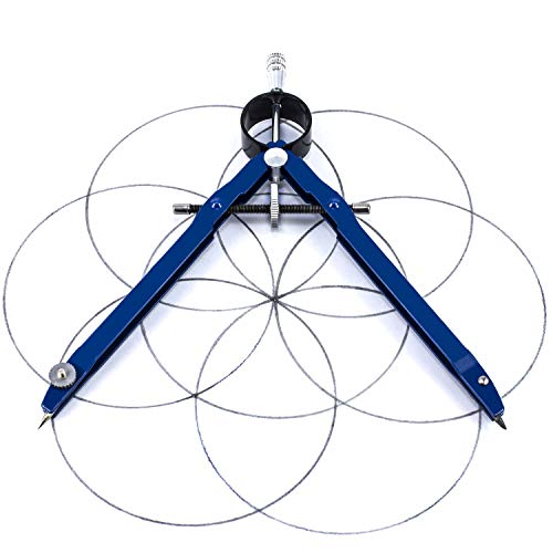 Offizeus Professional Compass for Geometry with Extra Lead Refills - Makes 10 Inch Circle - Math Compass, Drawing Compass - Metal Precision Bow Compass with Lock - for Drafting, School, Woodworking
