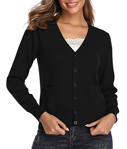 Women's V-Neck Long Sleeve Button Down Sweater Cardigan Soft Stretch Knit Cardigan Sweater with Pockets Black XL