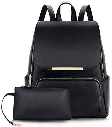 ShopyVid® PU Leather Stylish and Trending High Quality Women Backpack for College Office Travel Bag Girls Handbag Purse Black