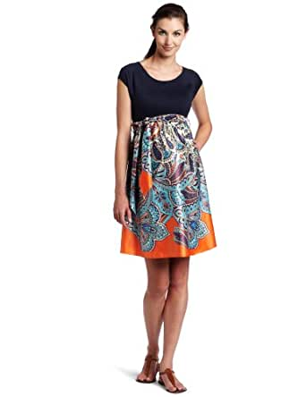 Maternal America Women's Maternity Scoop Neck Front Tie Dress, Navy Paisley, X-Small
