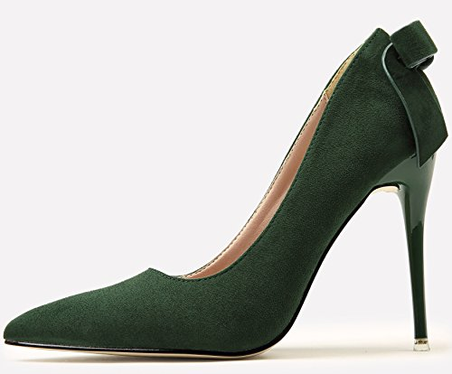 Shoes Bowknot High Wedding Party Sweet Women For Court BIGTREE Green by Heels Shoes Suede Stiletto w5qUH8g