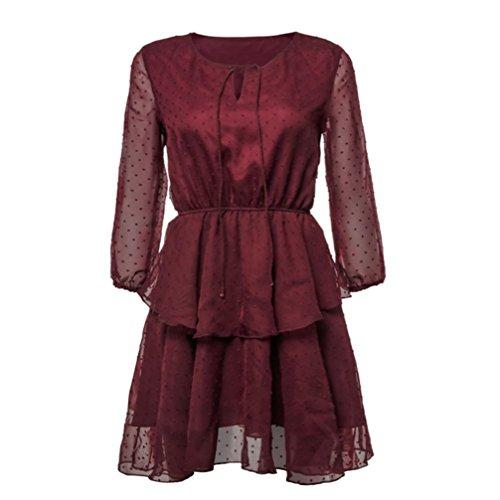 Damen Kleid Huhu833 Frauen Sommer Dreiviertel Ärmel Kleid Damen ...