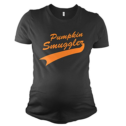 Maternity Pumpkin Smuggler Funny Halloween T shirt Announce Pregnancy T shirt (Black) (Funny Halloween Pregnancy Shirts)