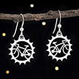 Sterling Silver Bicycle Earrings - Cyclist, Bike Lover Gift - Solid .925 Sterling Silver, Ready to Ship