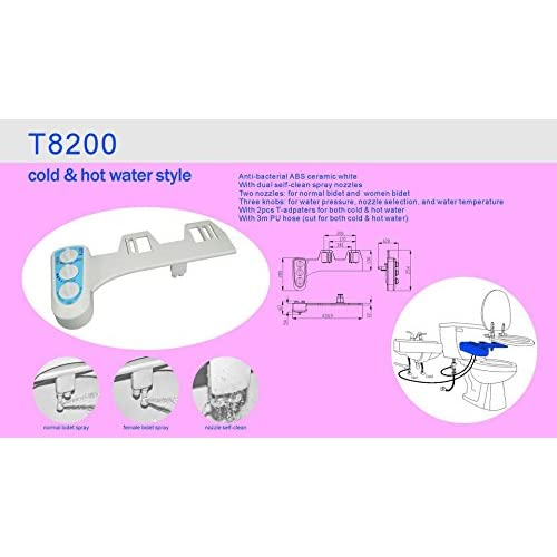 Fullrain T8200Self-Cleaning Dual Nozzle - Hot and Cold Water Non-Electric Mechanical Bidet Toilet Attachment 30%OFF