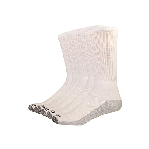 Cotton Cushion Crew Socks - Dickies Men's Multi-Pack Dri-Tech Moisture Control Crew Socks, White 6 Pack, Sock Size: 10-13/Shoe Size: 6-12
