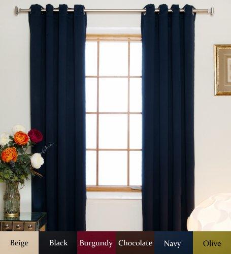 Blackout Curtain Navy Nickel Grommet Top Energy Saving Therm
