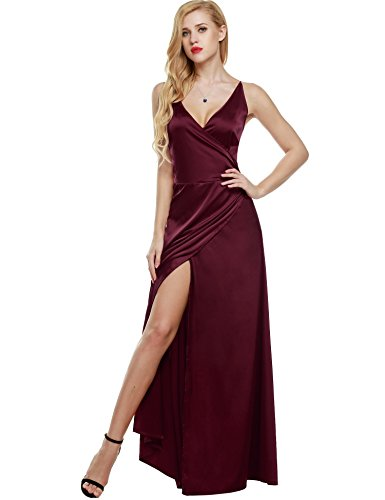ANGVNS Women Strap Sleeveless Split Side Evening Dress Long Evening Gown, Size Small, Wine Red