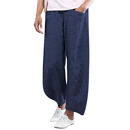 JOFOW Pants for Women Harem Capri Linen Casual Solid Loose High Waist Straight Leg Comfy Elegant Workwear Chic Crop Trousers (3XL,Dark Blue) ()