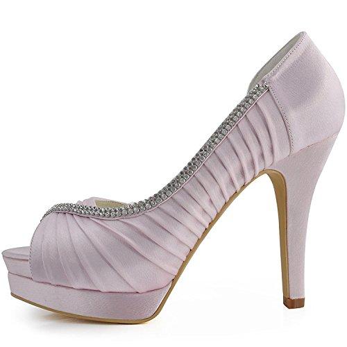 baile nupcial 12cm satinado talón boda noche Minitoo mujer sandalias MZ542 rosa para plisado de nTFTz7Yq