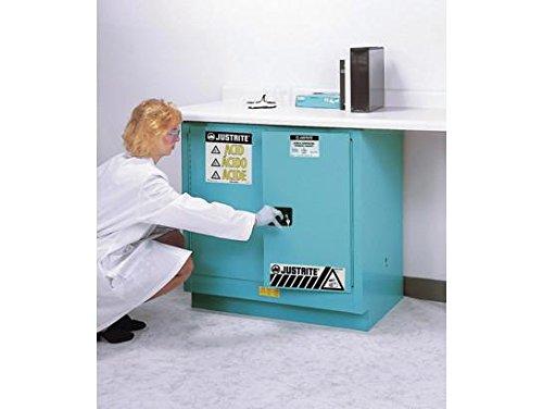Justrite 8923022 ChemCor Steel 2 Door Manual Close Undercounter Lined Acid Corrosive Safety Cabinet, 22 Gallon Capacity, 35