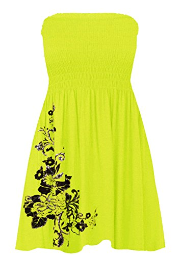 Glitter Fashion Jersey - Momo&Ayat Fashions Ladies Jersey Floral Glitter Sheering Mini Dress Bandeau Boobtube Top UK Size 8-26 (Yellow, 2XL (UK 20-22))
