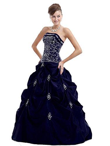 Kleider Dunkelblau Prom Formal Perlen Kmformals Satin Damen wRqFSR6X