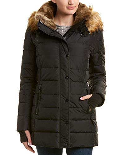 S13 Women's Matte Chelsea Mid Length Down Puffer with Faux Fur Hood, Black, Small (Hood Chelsea Jacket)