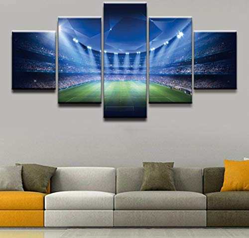 - sansiwu X Canvas Home Decorative Wall Art Living Room Hd Prints Poster 5 Pieces Soccer Stadium Painting Landscape Pictures