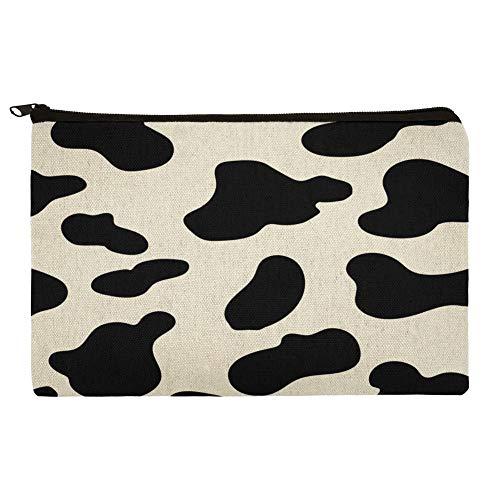 Cow Print Black White Makeup Cosmetic Bag Organizer Pouch