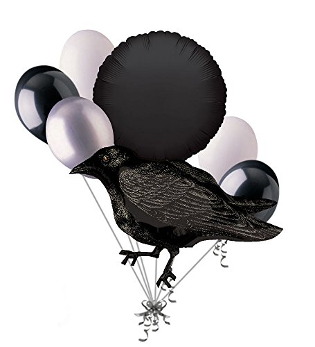 7 pc Black Crow Happy Halloween Balloon Bouquet Party Decoration Bird Raven]()