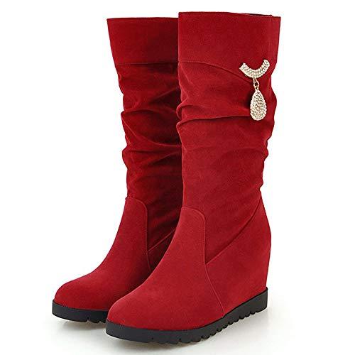 Zeppa Zeppa Autunnali Rosso On Pull TAOFFEN TAOFFEN TAOFFEN Donna Scarpe Stivali Moda q080ntO4