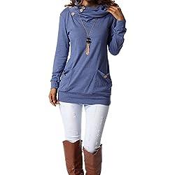 levaca Womens Tunic Long Sleeve Cowl Neck Fashion Slimming Tops Shirts Blue S