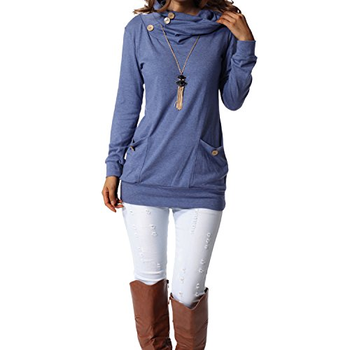 levaca Womens Tops Button Cowl Neck Fashion Slimming Tunic Shirts Blue -
