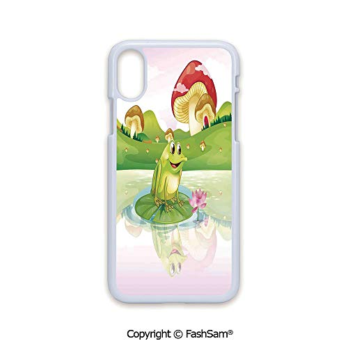 Plastic Rigid Mobile Phone case Compatible with iPhone X Black Edge Illustration of Cute Frog on Water Lily with Mushrooms on The Background Nature Lake Art Print 2D Print Hard - Frog Bejeweled