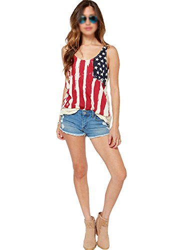 LABANCA Womens Summer Chiffon Tee American Flag Print Patriotic Sleeveless T-shirt Size XL