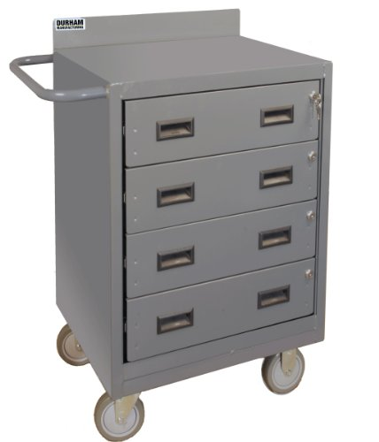 Durham 16 Gauge Welded Steel Mobile Bench Cabinet with 4 Drawers, 2202-95, 1200 lbs Capacity (Trucks Stock Picking)