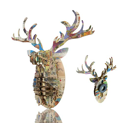 Tenonart Nordic Deer Head DIY Collection, 3D Cardboard Puzzle Wall Decor Magnet Hanging Decorations (Vintage Stamp)