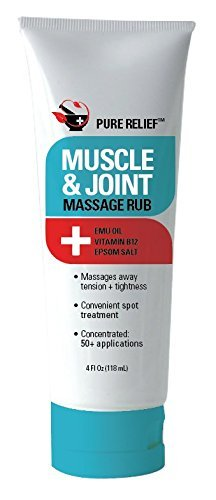 (Pure Relief Muscle and Joint Massage Rub with Magnesium, Emu Oil, Epsom Salt, and Vitamin B12. Massage rub for Tension and Tightness. 4oz. (4oz))